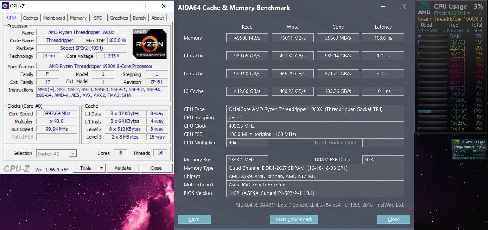 32 GB Crucial DDR4 RGB Tracers 2666 MHz OC on Threadripper